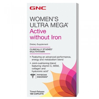 GNC WOMENS ULTRA ACTIVE NO IRON 180 капсул