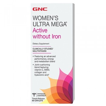GNC WOMENS ULTRA ACTIVE NO IRON 90 капсул